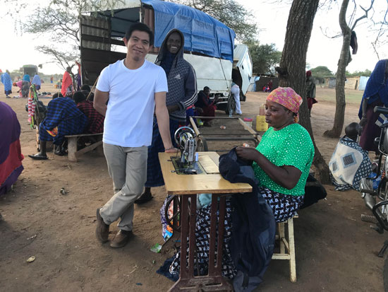 Br Ruel Bancoro SVD in Africa sewing 550