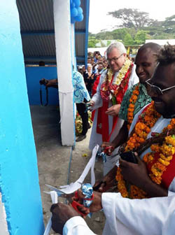 Vanuatu cutting ribbon on reopened church Nov 2019 250